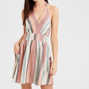 NWT American Eagle Stripe Linen Halter Flowy Dress